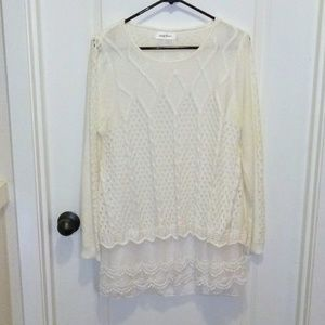 Simply Couture white tunic with lace XL!